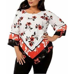 Alfani Women's Plus Size Printed Pointed Hem Tunic
